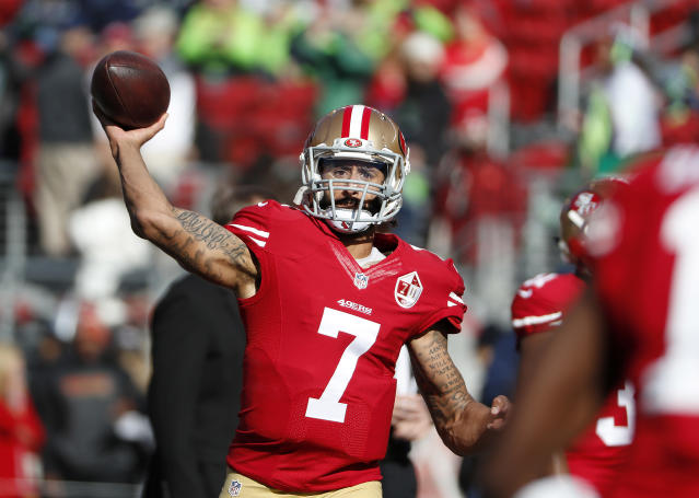 FILE - In this Jan. 1, 2017, file photo, San Francisco 49ers quarterback Colin Kaepernick (7) warms up before an NFL football game against the Seattle Seahawks in Santa Clara, Calif. Colin Kaepernick wants to play in the NFL, even if he has to compete to get on the field. A source close to Kaepernick told The Associated Press on Friday: Colin has always been prepared to compete at the highest level and is in the best shape of his life. Kaepernick released a video earlier this week saying: 5 a.m. 5 days a week. For 3 years. Still Ready. (AP Photo/Tony Avelar, File)