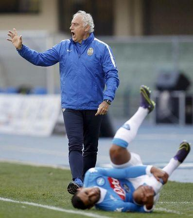Football Soccer - Hellas Verona v Napoli - Bentegodi stadium, Verona, Italy- 22/11/15  Hellas Verona's coach Andrea Mandorlini gestures as Napoli's Leandro Greco lies on the pitch. REUTERS/Alessandro Garofalo/File Photo