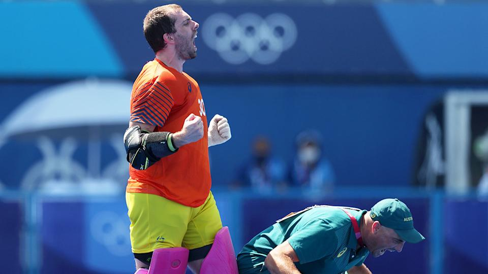 Pictured here, goalkeeper Andrew Charter was a hero for the Kookaburras in the shootout.