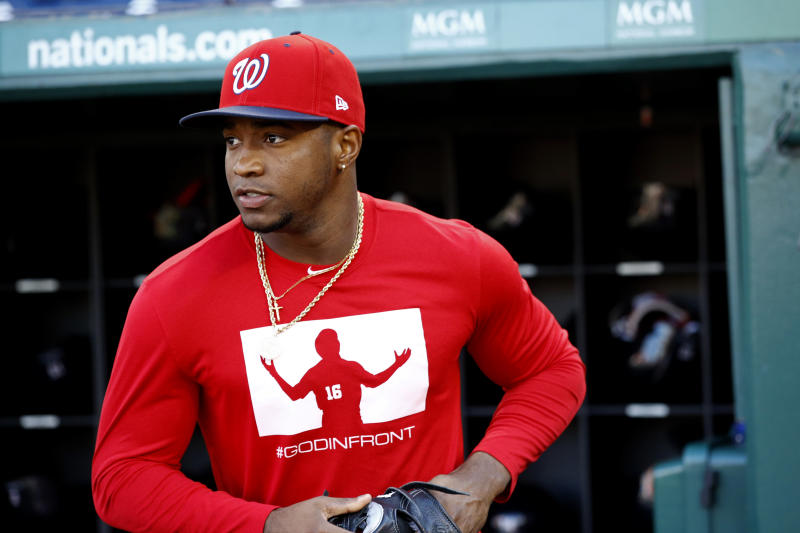 Washington Nationals center fielder Victor Robles participates in a baseball workout, Friday, Oct. 18, 2019, in Washington, in advance of the team's appearance in the World Series. (AP Photo/Patrick Semansky)
