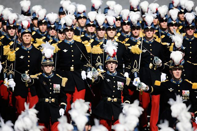 <p>French soldiers march down the Champs Elysees during the Bastille Day parade in Paris, Friday, July 14, 2017. (Photo: Markus Schreiber/AP) </p>