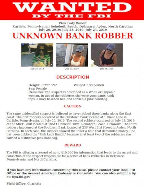 PHOTO: The FBI is searching for a a woman being referred to as the 'Pink Lady Bandit' after she allegedly robbed multiple banks. (FBI)