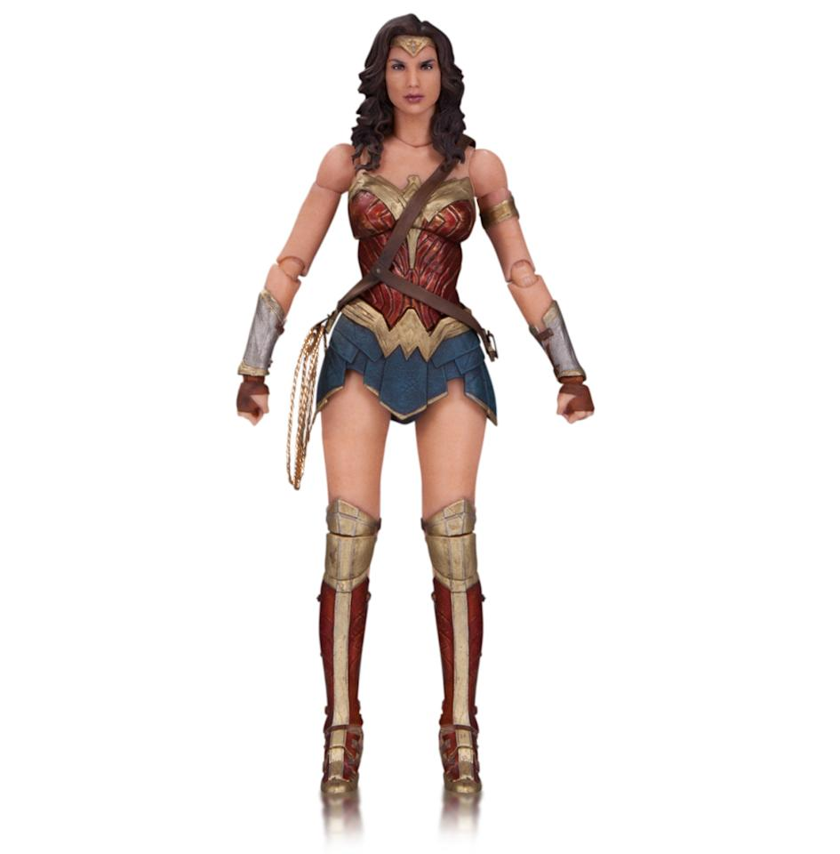 <p>The third member of DC's Trinity, played by Gal Gadot, is primed for battle, with her sword, shield, and golden lariat, along with interchangeable hands. <i>(Available in November; $45)</i></p><p><i><br /></i></p>