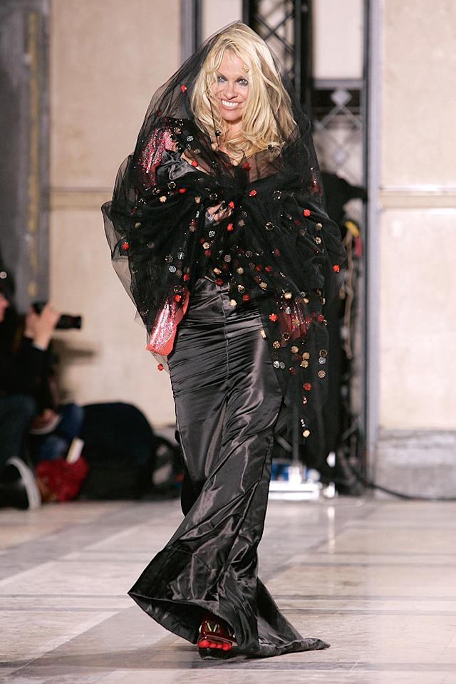 """Wham! Bam! Thank you Pam ... for wearing this week's most outrageous outfit -- a polka dotted trash bag from Vivienne Westwood's Winter '09 collection. Francois Durand/<a href=""""http://www.gettyimages.com/"""" target=""""new"""">GettyImages.com</a> - March 6, 2009"""