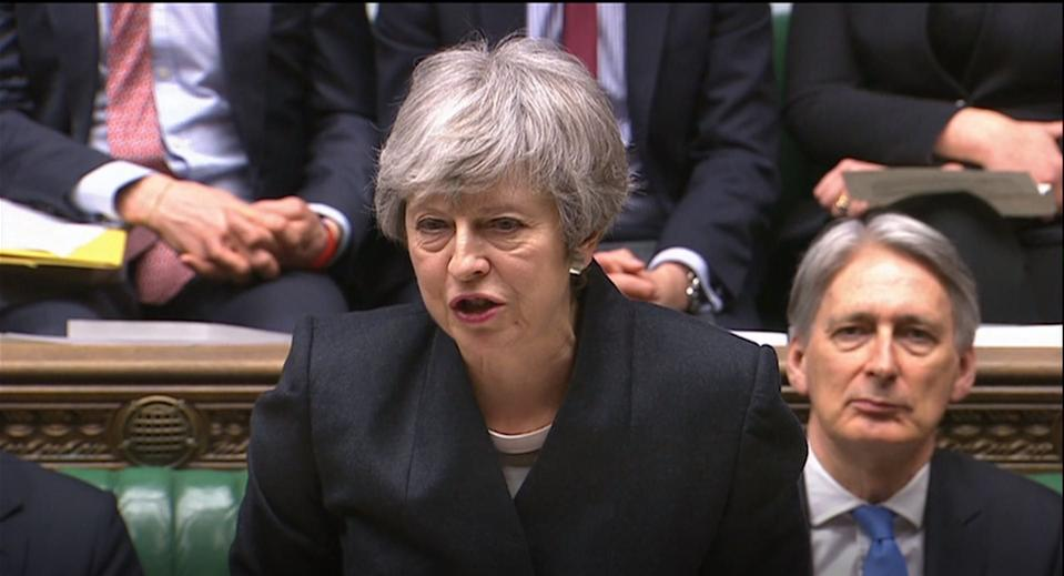 Prime Minister Theresa May speaks in the House of Commons, London, after the European Council in Brussels agreed to a second extension to the Brexit process.