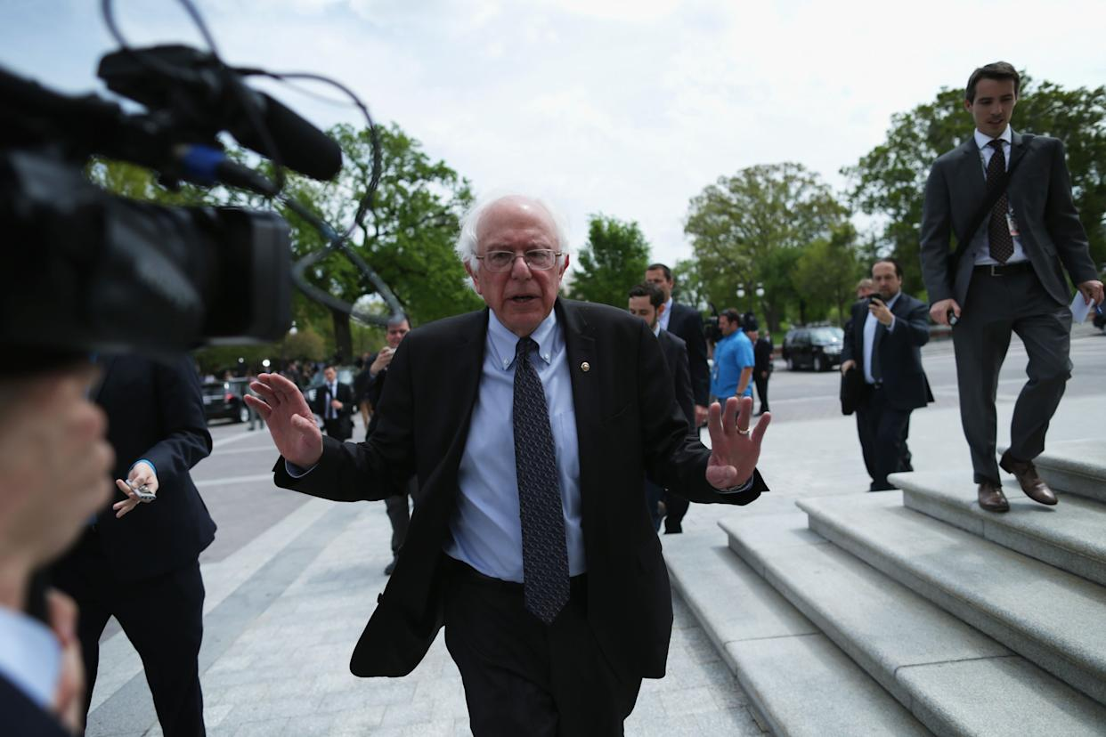 U.S. Sen. Bernard Sanders (I-Vt.) leaves after a news conference to speak on his agenda for America on Capitol Hill on April 30, 2015, after announcing he would run for U.S. president.