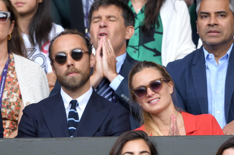 LONDON, ENGLAND - JULY 14: James Middleton and Alizee Thevenet during Men's Finals Day of the Wimbledon Tennis Championships at All England Lawn Tennis and Croquet Club on July 14, 2019 in London, England. (Photo by Karwai Tang/Getty Images)
