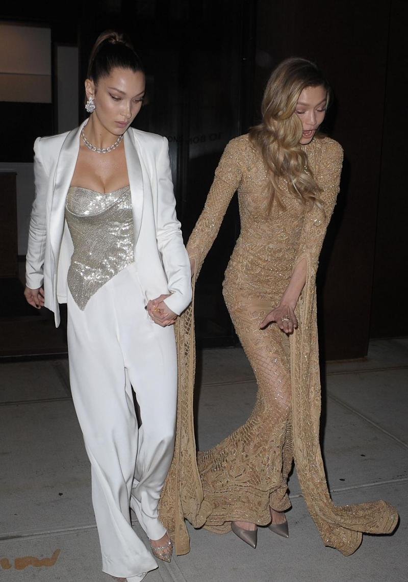 It looks as though the model may have tripped on her long gown. Source: Getty