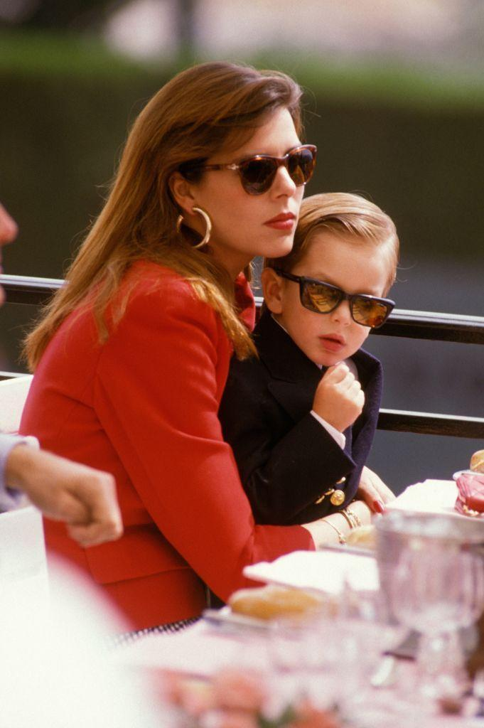 <p>Princess Caroline with her firstborn Andrea at the Monte Carlo Tennis Tournament in 1988.</p>