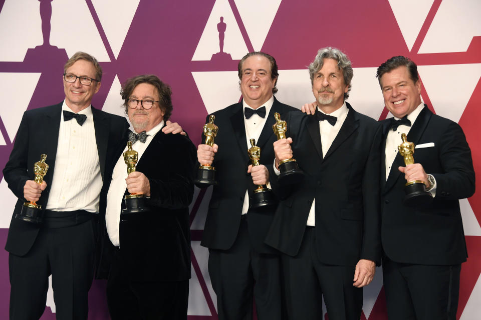 Jim Burke, Charles B. Wessler, Nick Vallelonga, Peter Farrelly, and Brian Currie, winners of Best Picture for 'Green Book,' pose in the press room during the 91st Annual Academy Awards. (Photo: Frazer Harrison/Getty Images)