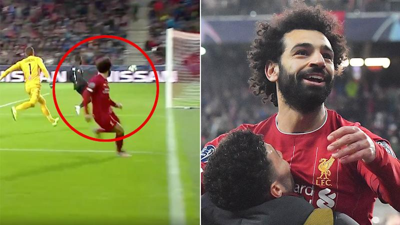 Mohamed Salah celebrates his superb goal for Liverpool against Salzburg.