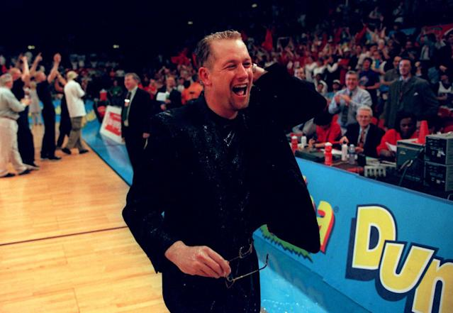 Nick Nurse celebrates a victory as coach of the Manchester Giants. (Credit: Getty Images)