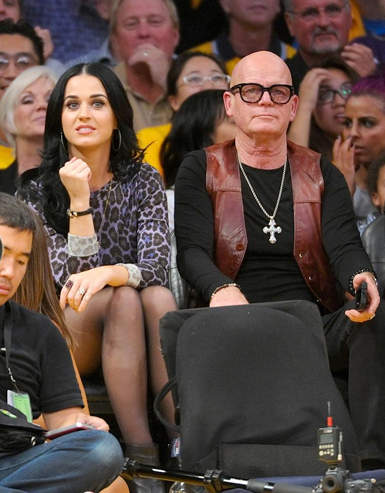 LOS ANGELES, CA - OCTOBER 30:  Katy Perry and her father Keith Hudson attend a basketball game between the Dallas Mavericks and the Los Angeles Lakers at Staples Center October 30, 2012 in Los Angeles, California.  (Photo by Noel Vasquez/Getty Images)