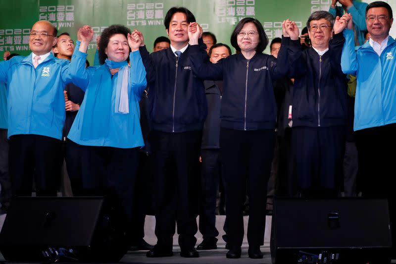 Premier Su Tseng-chang, Presidential Office Secretary-General Chen Chu, Vice President-elect William Lai, incumbent Taiwan President Tsai Ing-wen, Incumbent Vice President Chen Chien-jen and Democratic Progressive Party Chairman Cho Jung-tai in Taipei