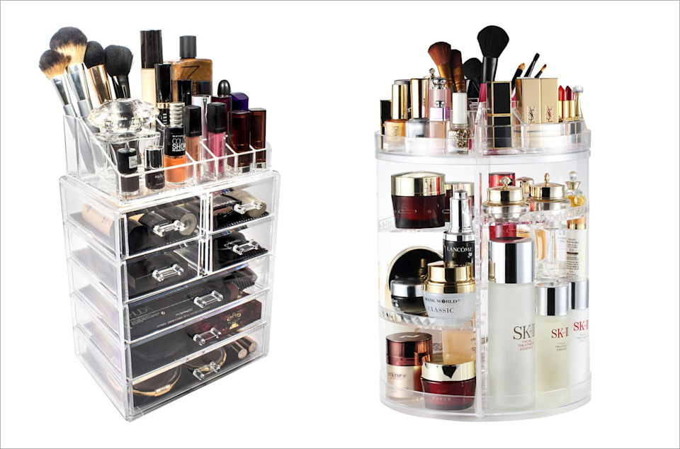 Never struggle to find that perfect red lipstick again. Clear containers let you see your makeup at a glance. (Photo: Amazon)