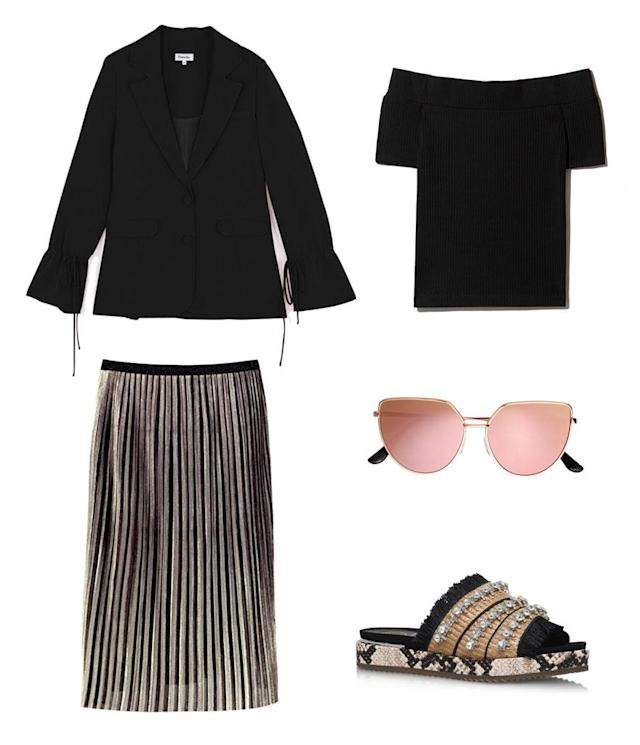 <p>You can capture Palermo's look by opting for a similar gold metallic maxi skirt, black top, and blazer that you might already wear to work. Add in statement accessories and you're good to go. </p>