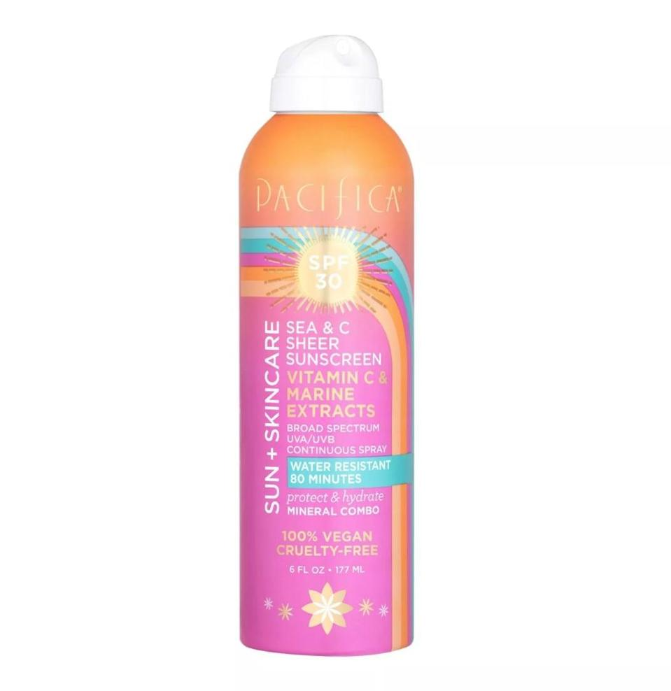 <p>The vegan and cruelty-free <span>Pacifica Sea &amp; C Sheer Sunscreen SPF 30</span> ($16) is water-resistant up to 80 minutes and has a vanilla and orange scent.</p>