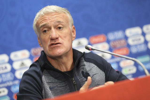 France headcoach Didier Deschamps answers journalists during France's official press conference at the eve of the group C match between France and Denmark at the 2018 soccer World Cup in the Luzhniki Stadium in Moscow, Russia, Monday, June 25, 2018. (AP Photo/David Vincent)