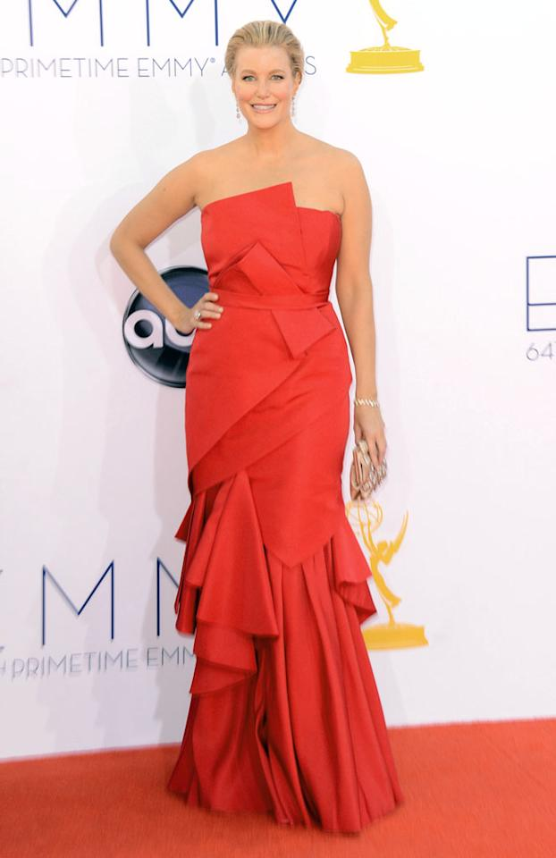 Anna Gunn arrives at the 64th Primetime Emmy Awards at the Nokia Theatre in Los Angeles on September 23, 2012.