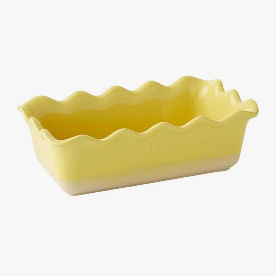 """$37, WILLIAMS SONOMA. <a href=""""https://www.williams-sonoma.com/products/emile-henry-ruffled-loaf-pan/?"""" rel=""""nofollow noopener"""" target=""""_blank"""" data-ylk=""""slk:Get it now!"""" class=""""link rapid-noclick-resp"""">Get it now!</a>"""