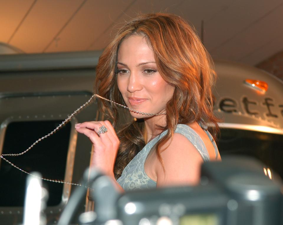 Jennifer Lopez during Olympus Fashion Week Fall 2006 - Jennifer Lopez Presents SweetFace - Front Row at Industria in New York City, United States. (Photo by Michael Loccisano/FilmMagic)