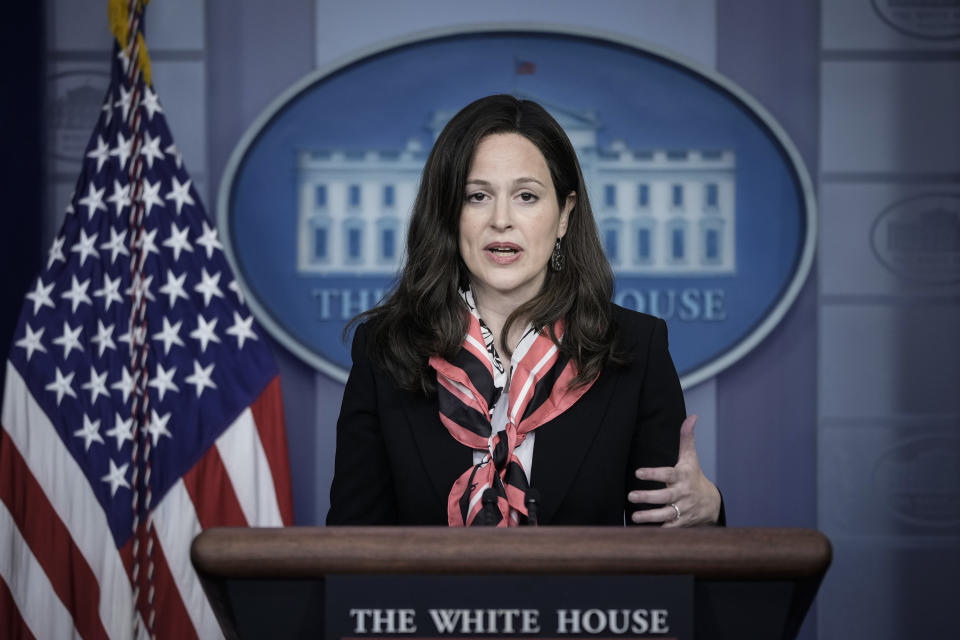 Deputy National Security Advisor for Cyber and Emerging Technology Anne Neuberger  speaks about the Colonial Pipeline cyber attack during the daily press briefing at the White House on May 10, 2021 in Washington, DC. (Drew Angerer/Getty Images)
