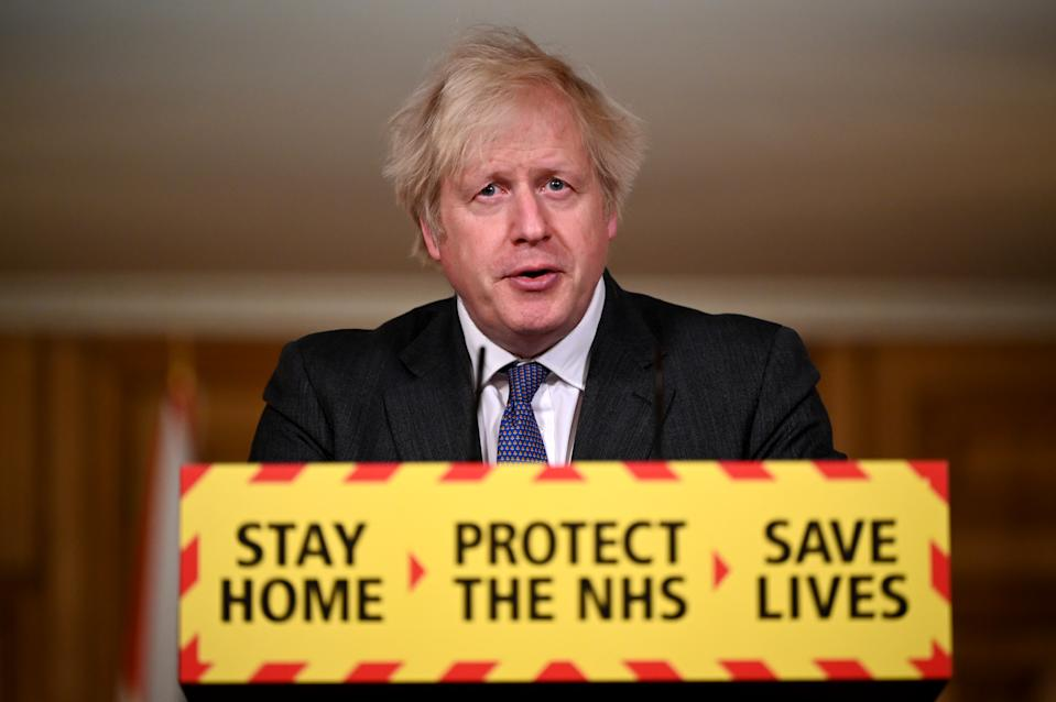 LONDON, ENGLAND - JANUARY 22: UK Prime Minister Boris Johnson speaks during a coronavirus press conference at 10 Downing Street on January 22, 2021 in London, England. The Prime Minister announced that the new variant of COVID-19, which was first discovered in the south of England, appears to be linked with an increase in the mortality rate. (Photo by Leon Neal/Getty Images)