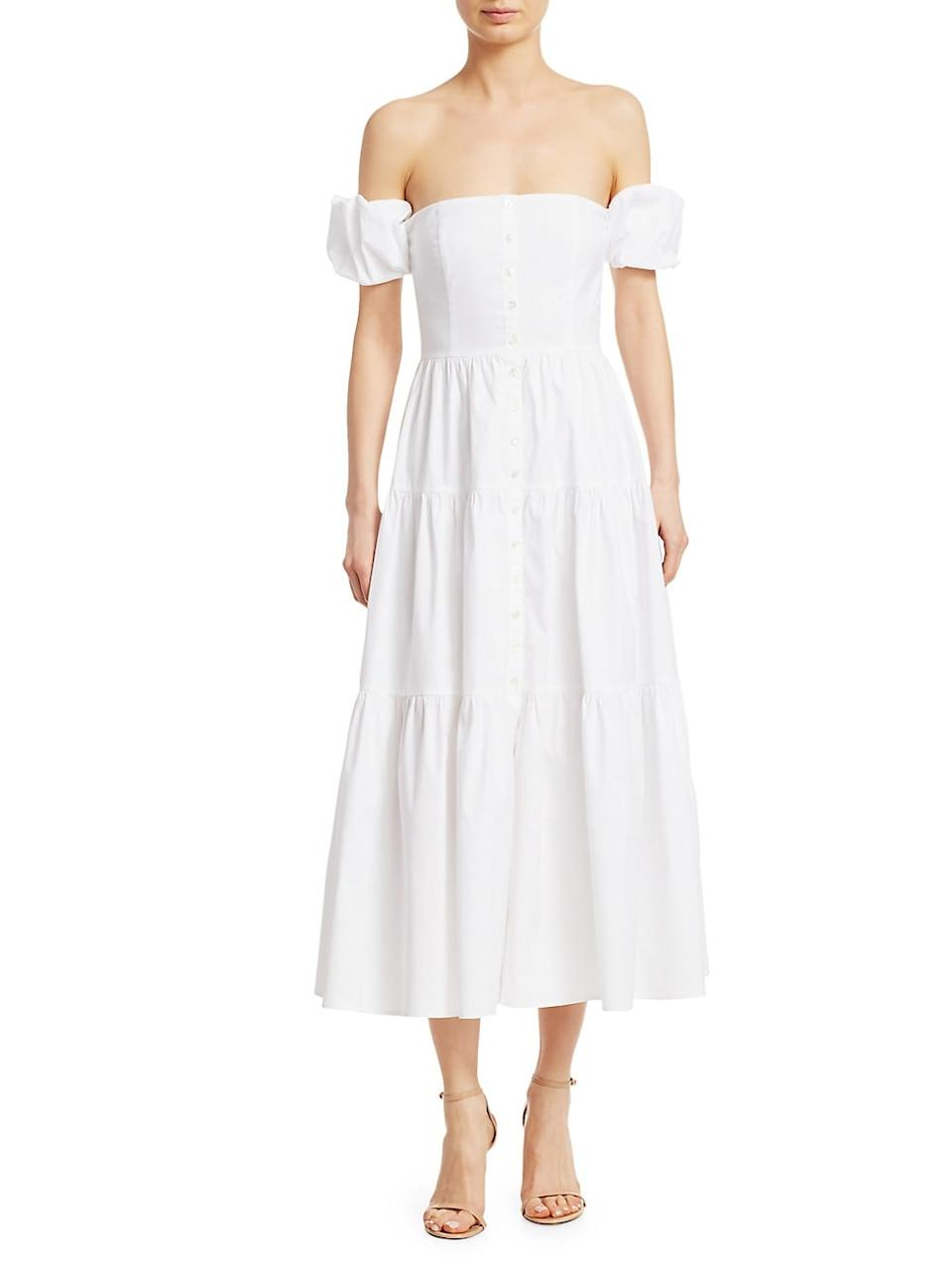 Staud Elio Puff-Sleeve Prairie Dress | SaksFifthAvenue