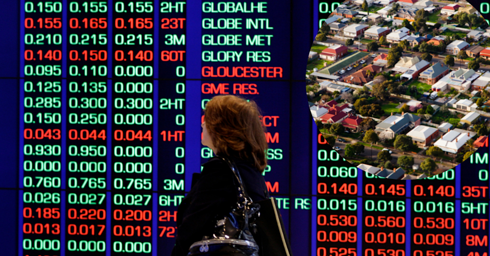 A woman standing in front of the ASX with a bubble on the side showing aerial view of an Australian suburbs.