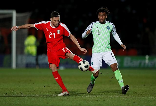 Soccer Football - International Friendly - Nigeria vs Serbia - The Hive Stadium, London, Britain - March 27, 2018 Nigeria's Alex Iwobi in action with Serbia's Nemanja Matic Action Images via Reuters/Peter Cziborra