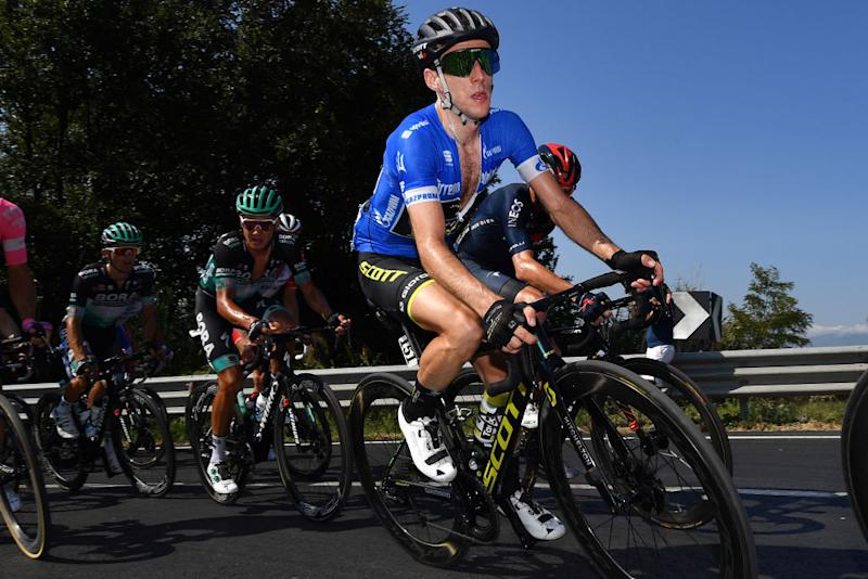 LORETO ITALY SEPTEMBER 13 Simon Yates of The United Kingdom and Team MitcheltonScott Blue Leader Jersey during the 55th TirrenoAdriatico 2020 Stage 7 a 181km stage from Pieve Torina to Loreto 114m TirrenAdriatico on September 13 2020 in Loreto Italy Photo by Justin SetterfieldGetty Images