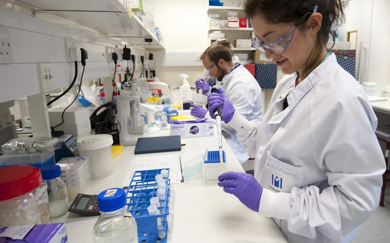Scientists in an AstraZeneca lab - Rex Features
