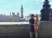 """<p>Freddie Benson from <em>iCarly</em> turned his and wife London's pregnancy announcement into a pun. """"Me and my baby in London. 🇬🇧Me, and my baby in London.Me. 👨 And my baby 👶 IN --->LONDON 👧🏼<span>he captioned on Instagram in July 2017.</span></p><p>In December 2017, the couple <a href=""""https://nostalgiaisthenewblack.com/2017/12/23/nathan-kress-dad-daughter/"""" rel=""""nofollow noopener"""" target=""""_blank"""" data-ylk=""""slk:became parents"""" class=""""link rapid-noclick-resp"""">became parents</a> to a daughter named Rosie.</p>"""