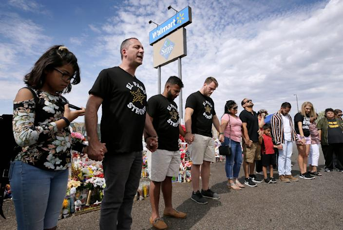 Adam Bowles, pastor of Castle Church in Norwich, Connecticut, second from left, along with his friend Matt Martinez, beside him, and brother-in-law Jono Wibberley decided to drive from their home to Dayton, Ohio, and then to El Paso to raise funds along the way for the victims of mass shootings in the cities.