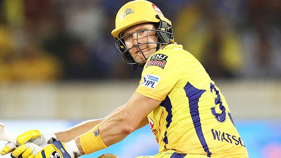 Shane Watson is pictured playing for the Chennai Super Kings in the Indian Premier League.
