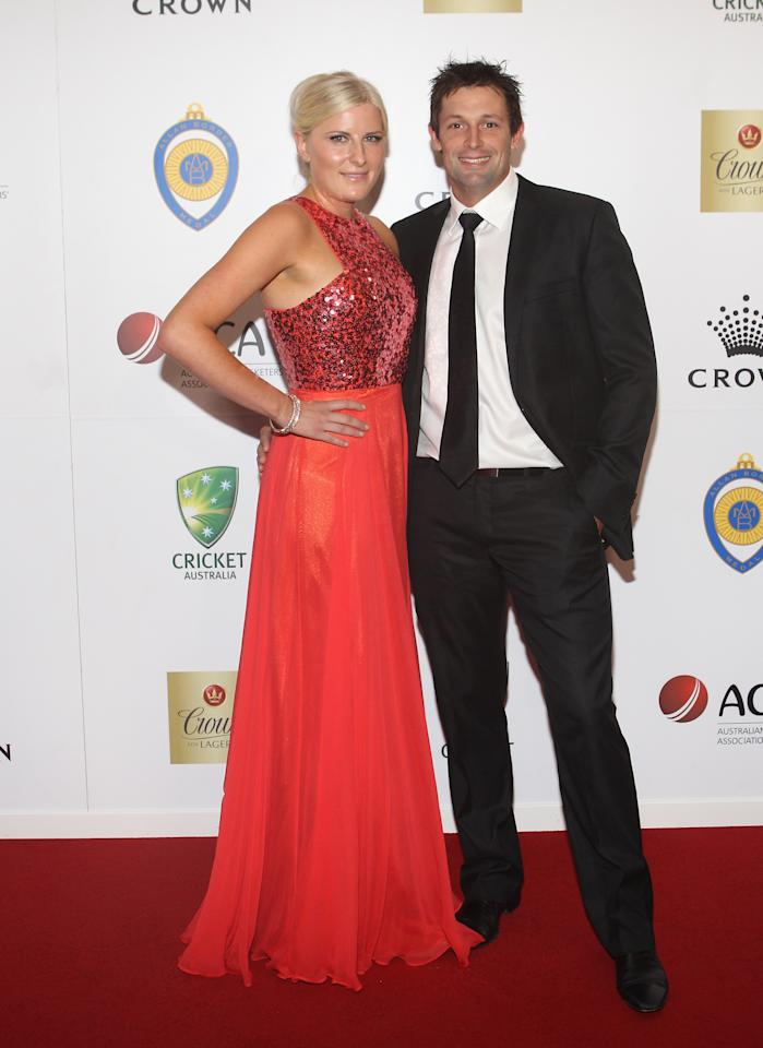 MELBOURNE, AUSTRALIA - FEBRUARY 27: Ben Hilfenhaus and Meredith Jenkins arrive at the 2012 Allan Border Medal Awards at Crown Palladium on February 27, 2012 in Melbourne, Australia.  (Photo by Lucas Dawson/Getty Images)