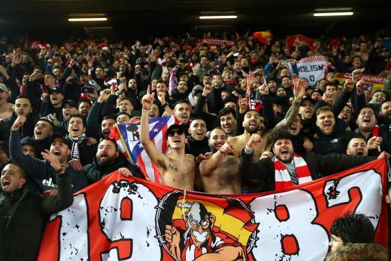 Atletico Madrid fans at Anfield, three weeks after Atalanta v Valencia (Getty Images)