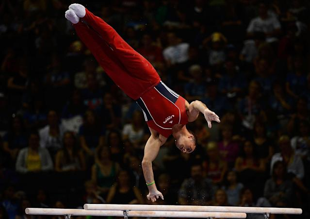 SAN JOSE, CA - JUNE 30: Danell Leyva competes on the parallel bars during day 3 of the 2012 U.S. Olympic Gymnastics Team Trials at HP Pavilion on June 30, 2012 in San Jose, California. (Photo by Ronald Martinez/Getty Images)