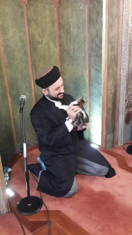 Imam Mustafa Efe is seen with a stray cat in the Aziz Mahmud Hüdayi Mosque in Istanbul, Turkey. [Mustafa Efe/Facebook]
