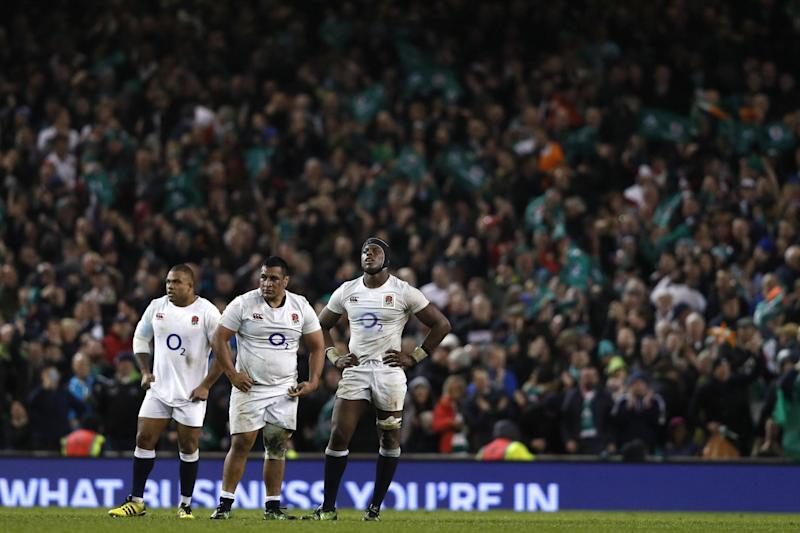 England players react at the final whistle after the Six Nations defeat to Ireland: Adrian Dennis/AFP/Getty Images