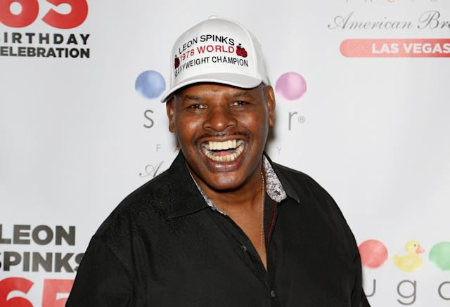 Former heavyweight champion Leon Spinks, shown in August at his 65th birthday party, is hospitalized in Las Vegas and his wife, Brenda, has asked for prayers. (Photo by Gabe Ginsberg/Getty Images)