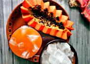 """<p>Start your day off with this brisk and refreshing papaya agua fresca. Papaya may most often be enjoyed doused in spicey Tajín, but blend a couple of these <a href=""""https://www.thedailymeal.com/eat/exotic-fruits-you-have-never-heard-of-need-to-try?referrer=yahoo&category=beauty_food&include_utm=1&utm_medium=referral&utm_source=yahoo&utm_campaign=feed"""" rel=""""nofollow noopener"""" target=""""_blank"""" data-ylk=""""slk:must-eat fruits"""" class=""""link rapid-noclick-resp"""">must-eat fruits</a> with a few cups of water, pour over ice and prepare for a citrusy wake-up call. </p> <p><strong><a href=""""https://www.thedailymeal.com/best-recipes/papaya-agua-fresca?referrer=yahoo&category=beauty_food&include_utm=1&utm_medium=referral&utm_source=yahoo&utm_campaign=feed"""" rel=""""nofollow noopener"""" target=""""_blank"""" data-ylk=""""slk:For the Papaya Agua Fresca recipe, click here."""" class=""""link rapid-noclick-resp"""">For the Papaya Agua Fresca recipe, click here. </a></strong></p>"""