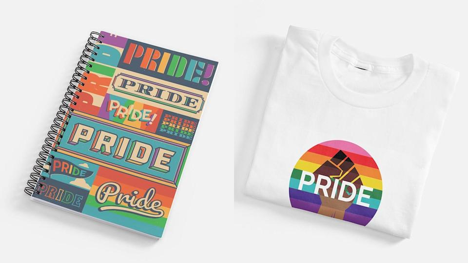 Shop T-shirts, notebooks, and more from Vistaprint's Pride-themed collection.
