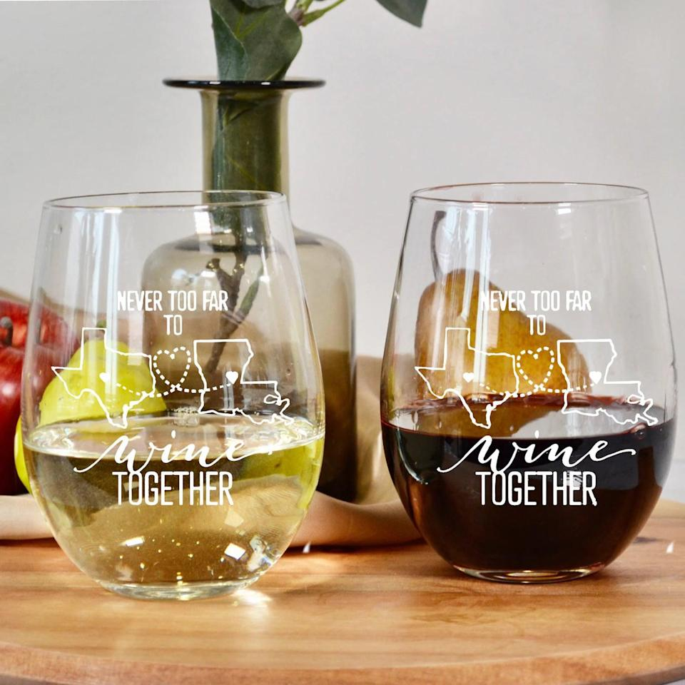 <p>Just because they aren't near you doesn't mean you can't enjoy a good virtual wine night! The <span>Engraved Multiple State Stemless Wine Glass </span> ($11) is perfect for wine lovers.</p>