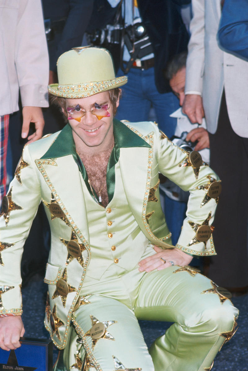 Elton John gets a star on the Hollywood Walk of Fame, at 6915 Hollywood Boulevard, Los Angeles, 23rd October 1975.