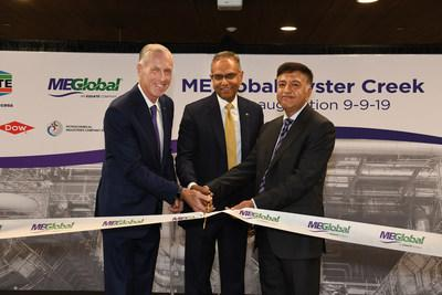 Dow CEO Jim Fitterling, EQUATE Group President and CEO Ramesh Ramachandran, and Kuwait Petroleum Corporation CEO Hashem Hashem cut the ribbon on the new MEGlobal Oyster Creek site, a 750,00 MTa ethylene glycol plant in Oyster Creek, TX on Sept. 9, 2019.