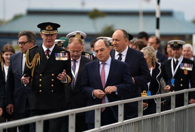 Defence Secretary Ben Wallace alongside Second Sea Lord Nick Hines outside The Venturer Building after a frigate steel cutting ceremony for the first of the class Type 31 frigate, at Babcock Rosyth, Fife