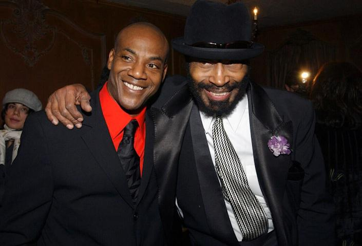 """John Earl Jelks and Anthony Chisholm arrive at the opening of """"The Gem of the Ocean"""" after party at Barbetta on December 6, 2004 in New York. (Photo by Brad Barket/Getty Images)"""