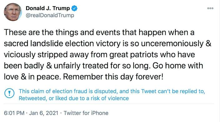 A tweet from President Trump about the riots that happened at the U.S. Capitol on Wednesday, Jan. 6, 2021.