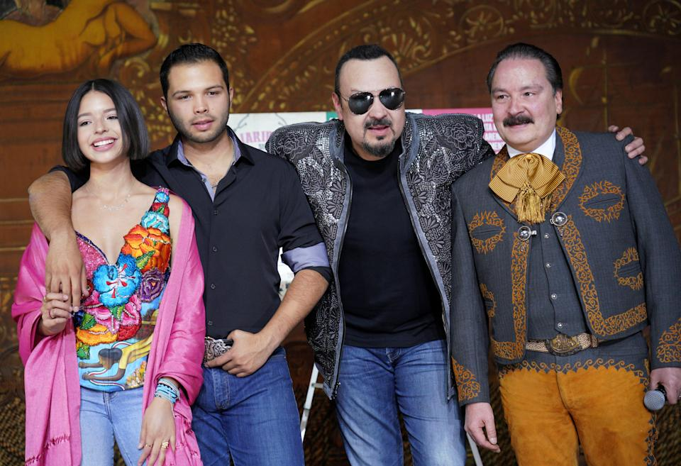 LOS ANGELES, CALIFORNIA - APRIL 01:  (L-R) Recording artists Angela Aguilar, Leonardo Aguilar, Pepe Aguilar and Antonio Aguilar Jr.  attend Pepe Aguilar and Family 'Jaripeo Sin Fronteras 2019' press conference at Los Angeles Theatre on April 01, 2019 in Los Angeles, California. (Photo by JC Olivera/Getty Images)